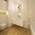 Projekt wnętrz łazienki gościennej w mieszkaniu na warszawskim Żoliborzu