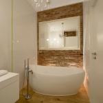 Projekt wnętrz łazienki - wanna wolnostojąca w mieszkaniu na Żoliborzu