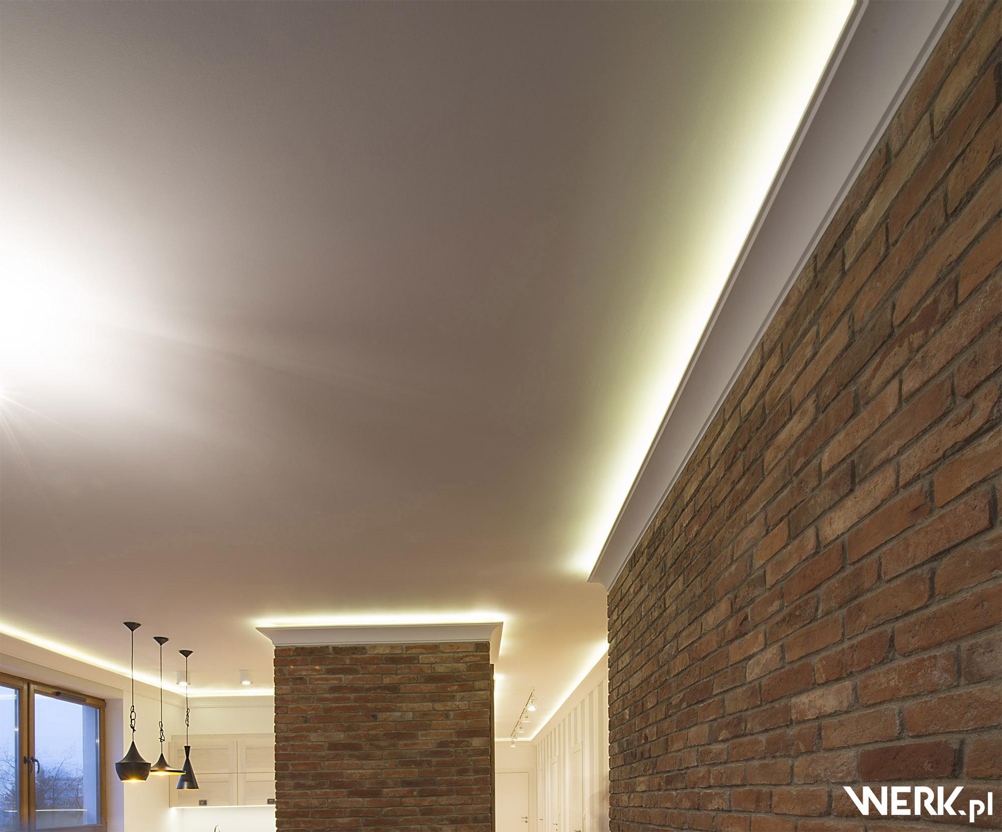 Oświetlenie ogólne w otwartej części mieszkania na Żoliborzu