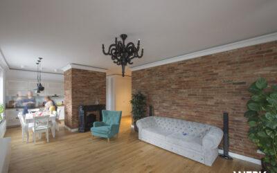 Luksusowy apartament w Warszawie z płytkami z cegły
